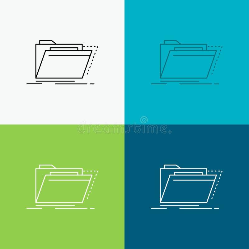 Archiv, Katalog, Verzeichnis, Dateien, Ordner Ikone über verschiedenem Hintergrund r ENV 10 lizenzfreie abbildung