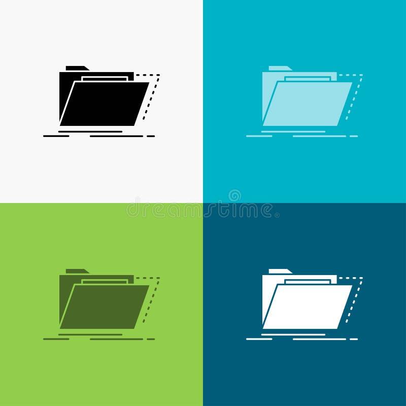 Archiv, Katalog, Verzeichnis, Dateien, Ordner Ikone ?ber verschiedenem Hintergrund Glyphartdesign, bestimmt f?r Netz und APP ENV  lizenzfreie abbildung
