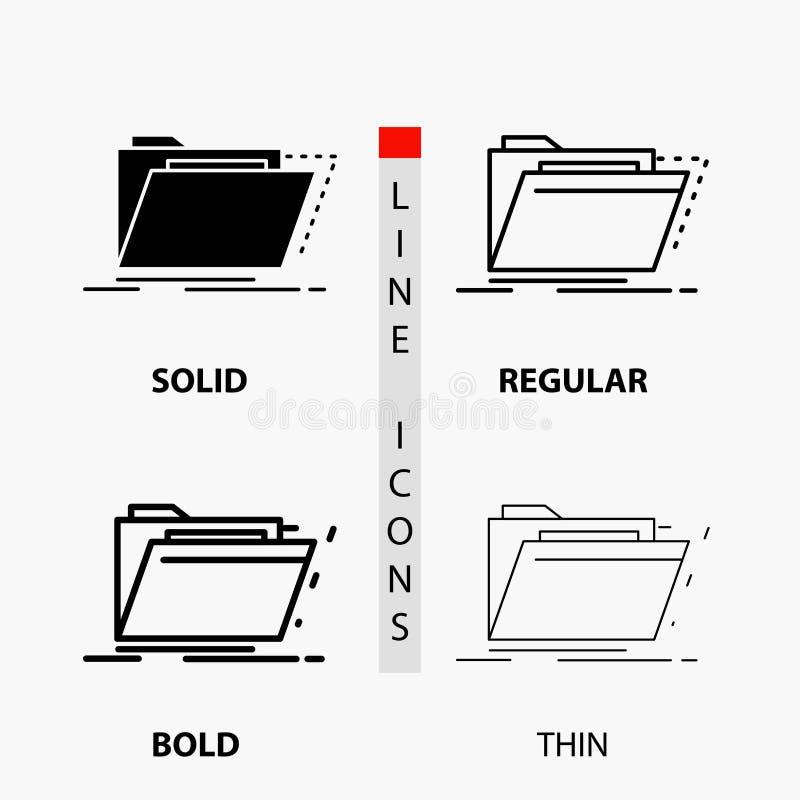 Archiv, Katalog, Verzeichnis, Dateien, Ordner Ikone in der dünnen, regelmäßigen, mutigen Linie und in der Glyph-Art Auch im corel lizenzfreie abbildung