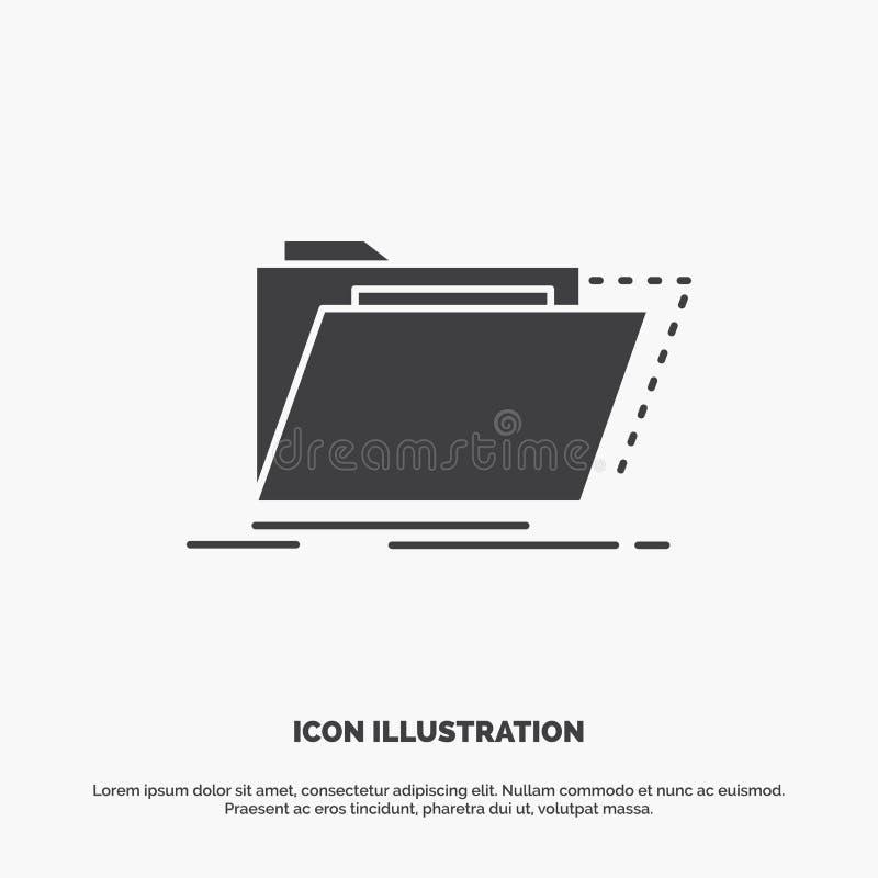 Archiv, Katalog, Verzeichnis, Dateien, Ordner Ikone graues Symbol des Glyphvektors f?r UI und UX, Website oder bewegliche Anwendu stock abbildung