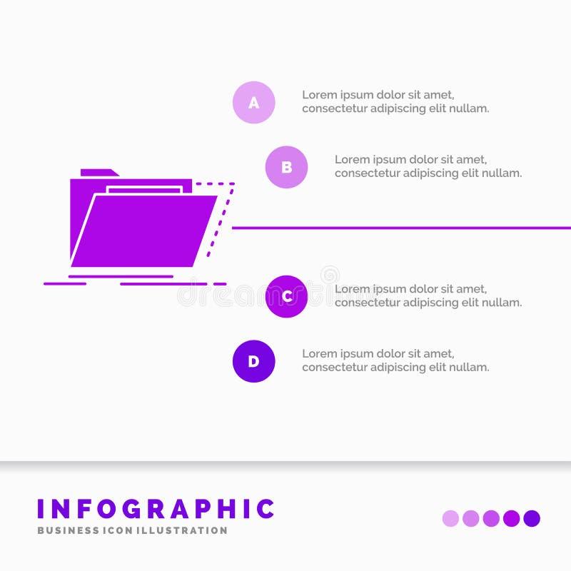 Archiv, Katalog, Verzeichnis, Dateien, Ordner Infographics-Schablone f?r Website und Darstellung Infographic Art der purpurroten  lizenzfreie abbildung