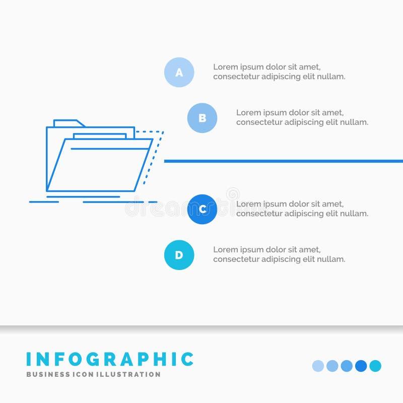 Archiv, Katalog, Verzeichnis, Dateien, Ordner Infographics-Schablone f?r Website und Darstellung Linie infographic Art der blauen lizenzfreie abbildung