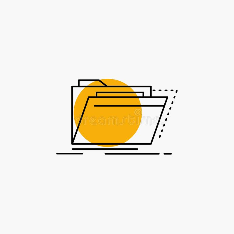 Archiv, Katalog, Verzeichnis, Dateien, Ordner Linie Ikone stock abbildung