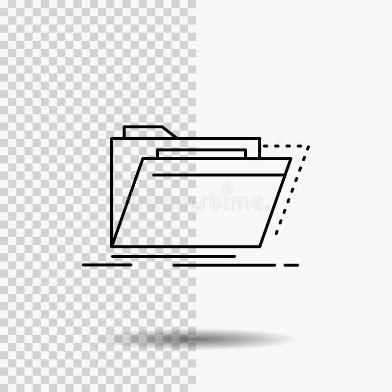Archiv, Katalog, Verzeichnis, Dateien, Ordner Linie Ikone auf transparentem Hintergrund Schwarze Ikonenvektorillustration stock abbildung