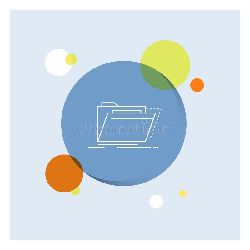 Archiv, Katalog, Verzeichnis, Dateien, Ordner weiße Linie Ikonen-bunter Kreis-Hintergrund stock abbildung