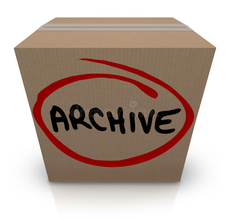 Archiv-Pappschachtel-Registerakten-Speicher verpackte herauf weg gesetzt vektor abbildung