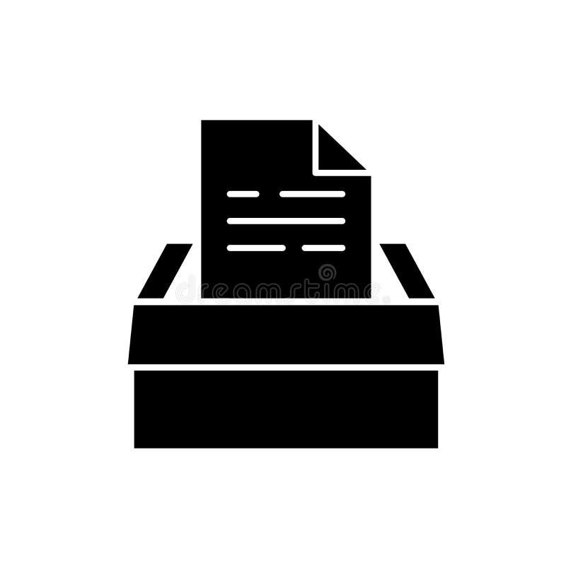Archiv von Dokumenten schwarze Ikone, Vektorzeichen auf lokalisiertem Hintergrund Archiv des Dokumentenkonzeptsymbols, Illustrati lizenzfreie abbildung