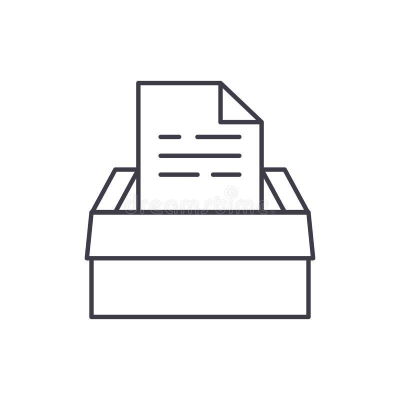 Archiv von Dokumenten zeichnen Ikonenkonzept Archiv der linearen Illustration des Dokumentenvektors, Symbol, Zeichen lizenzfreie abbildung