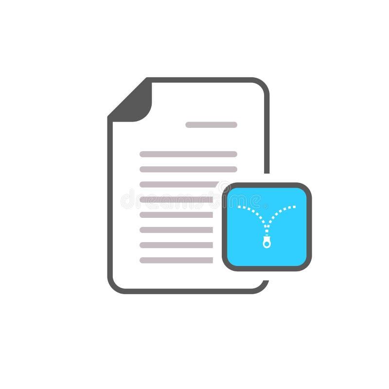 Archivdokumentenerweiterungsdateiformatzipreißverschlussikone stock abbildung