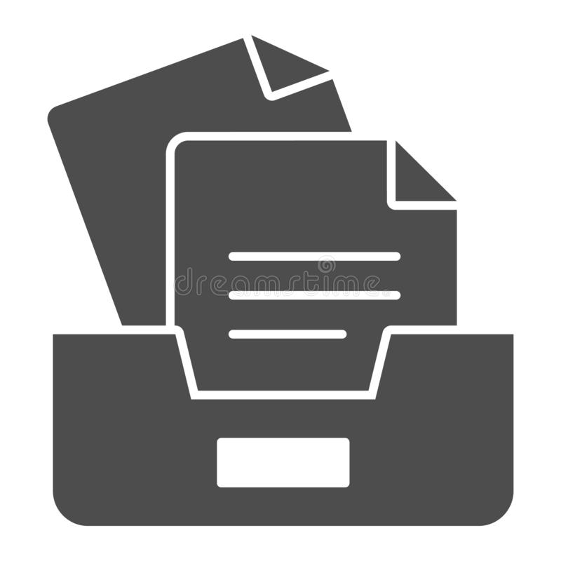 Archive box with papers solid icon. Drawers with documents vector illustration isolated on white. Paper storage glyph. Style design, designed for web and app stock illustration