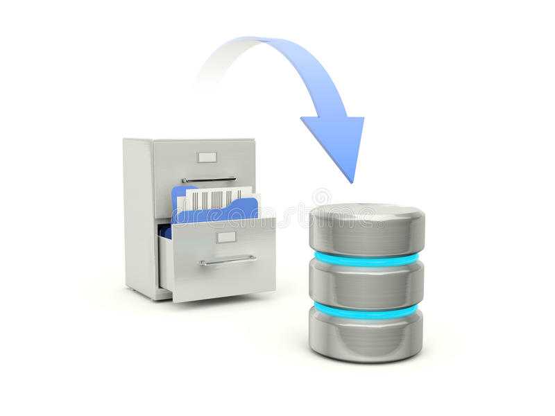 Archive cabinet with data base vector illustration
