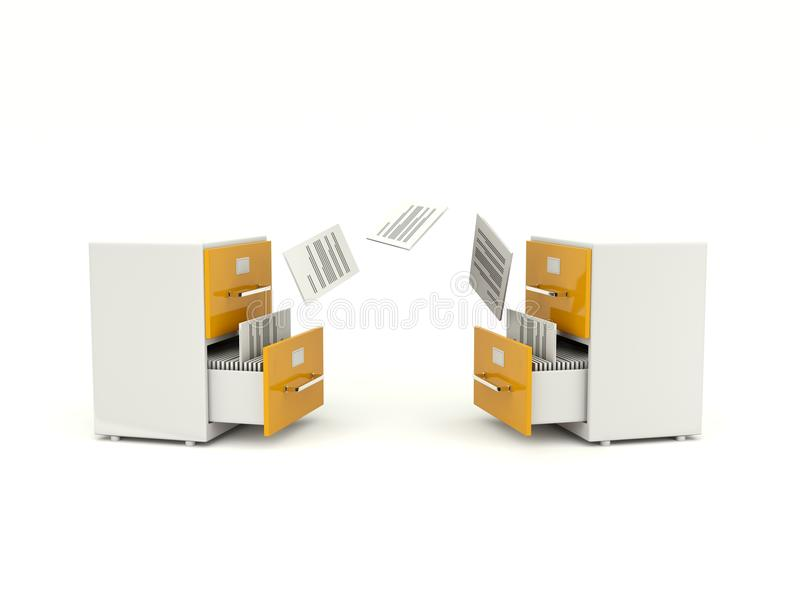 Archive cabinets exchanging files stock illustration