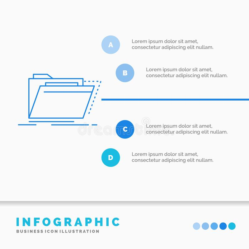 Archive, catalog, directory, files, folder Infographics Template for Website and Presentation. Line Blue icon infographic style. Vector illustration. Vector royalty free illustration