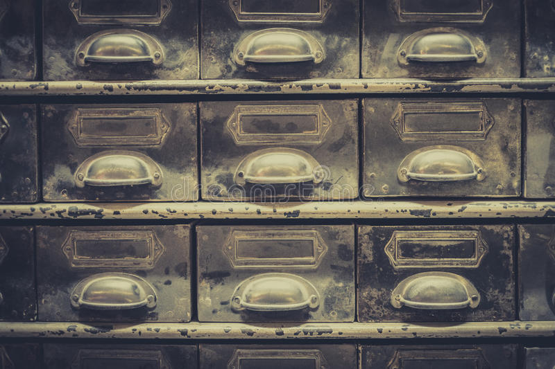 Download Archive Concept, Vintage Library Drawer Closeup, Retro Filter Stock Photo - Image of database, macro: 98255106