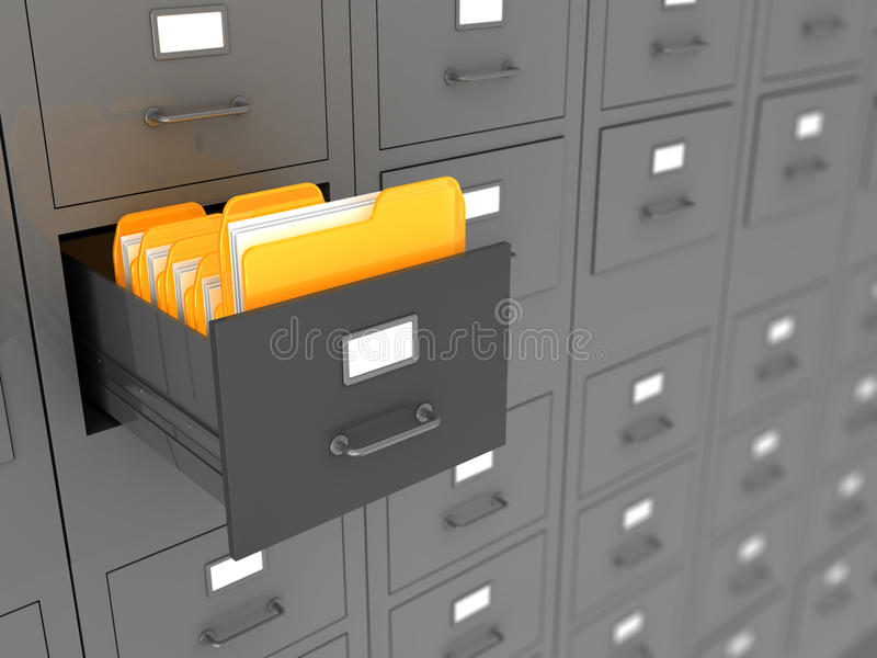 Archive. 3d illustration of archive folders royalty free illustration