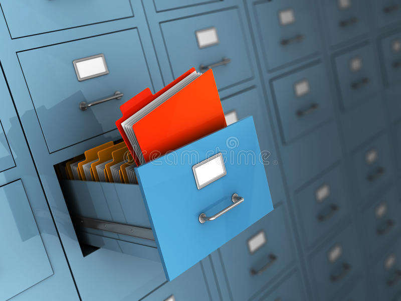 Archive. 3d illustration of archive with red folder stock illustration