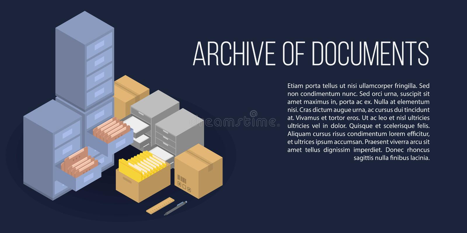 Archive of documents concept banner, isometric style stock illustration