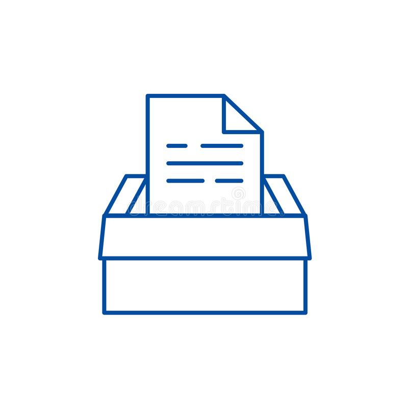 Archive of documents line icon concept. Archive of documents flat  vector symbol, sign, outline illustration. royalty free illustration