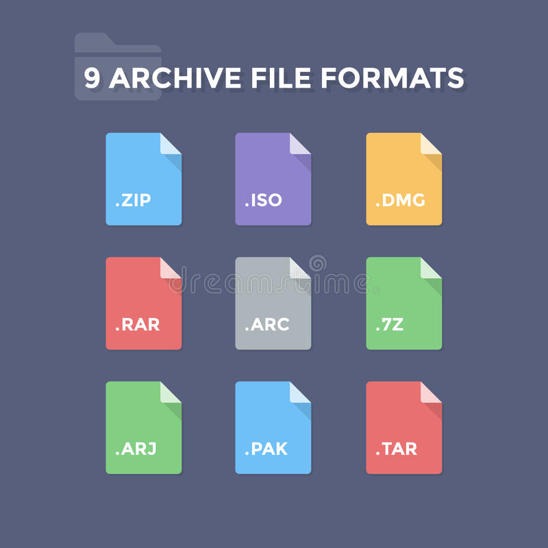 Archive File Formats vector illustration