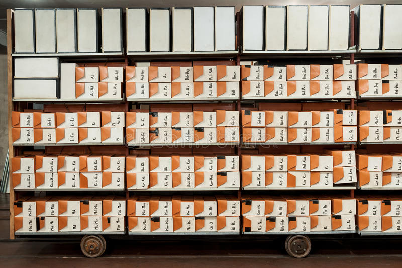 Archive files. Old archival files in town archive. The boxes are put in alphabetical order royalty free stock photos
