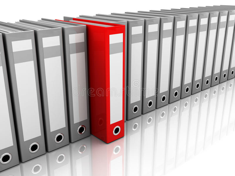 Archive folder. 3d illustration of archive folders row with one selected royalty free illustration