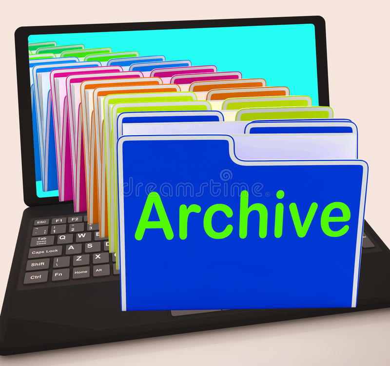 Archive Folders Laptop Show Documents Data And Backup stock illustration