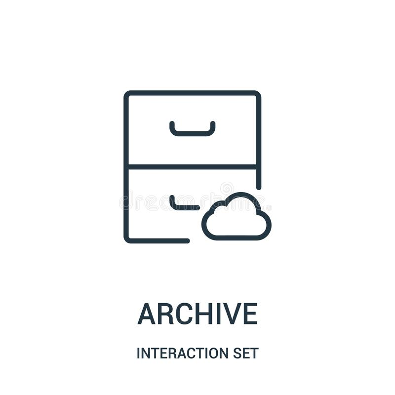 Archive icon vector from interaction set collection. Thin line archive outline icon vector illustration. Linear symbol for use on web and mobile apps, logo royalty free illustration