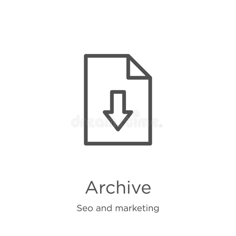 Archive icon vector from seo and marketing collection. Thin line archive outline icon vector illustration. Outline, thin line. Archive icon. Element of seo and stock illustration
