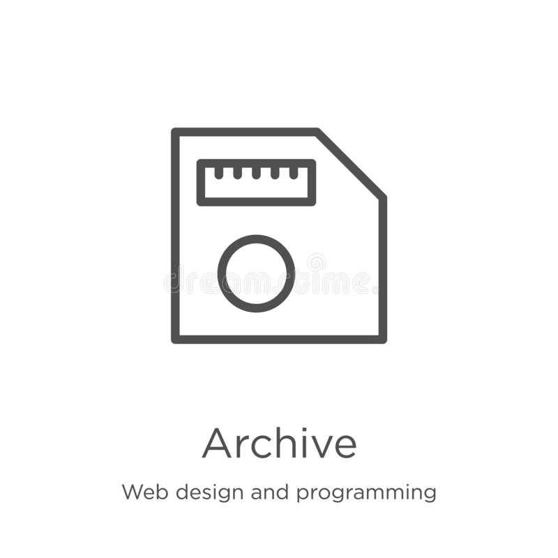 Archive icon vector from web design and programming collection. Thin line archive outline icon vector illustration. Outline, thin. Archive icon. Element of web stock illustration