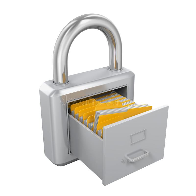 Archive Padlock. On white background. 3D render vector illustration