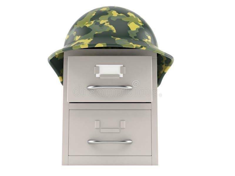 Archives avec le casque militaire illustration de vecteur