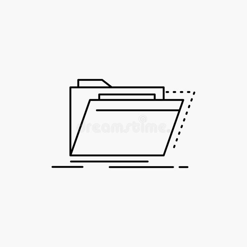 Archives, catalogue, annuaire, dossiers, ligne icône de dossier Illustration d'isolement par vecteur illustration de vecteur