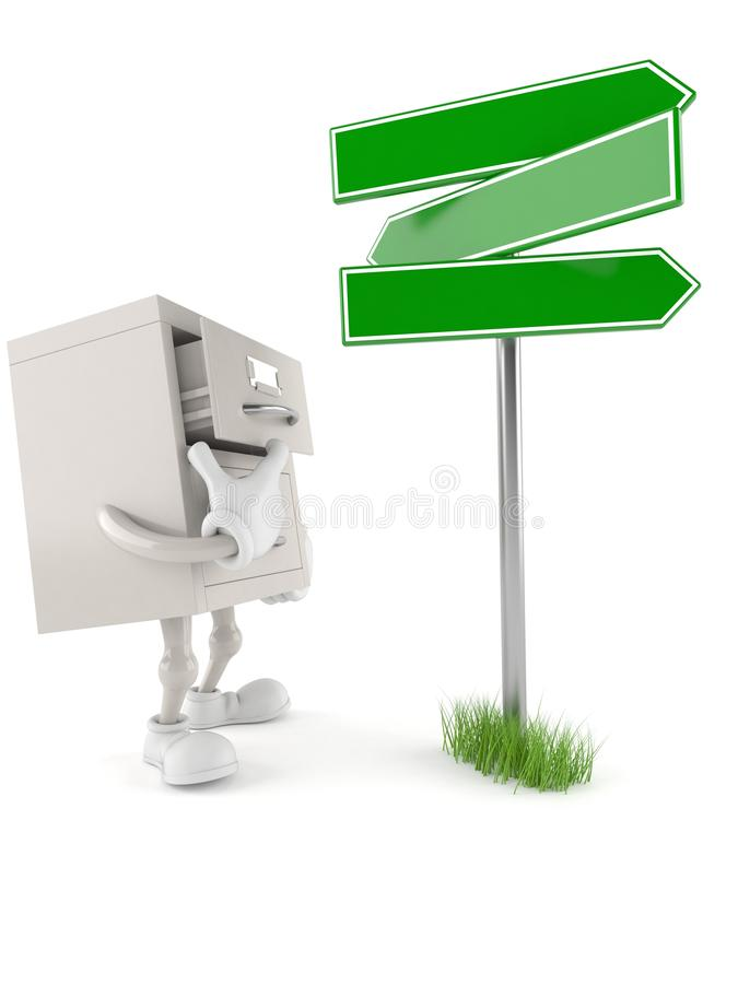 Archives character with blank signpost. Isolated on white background. 3d illustration stock illustration