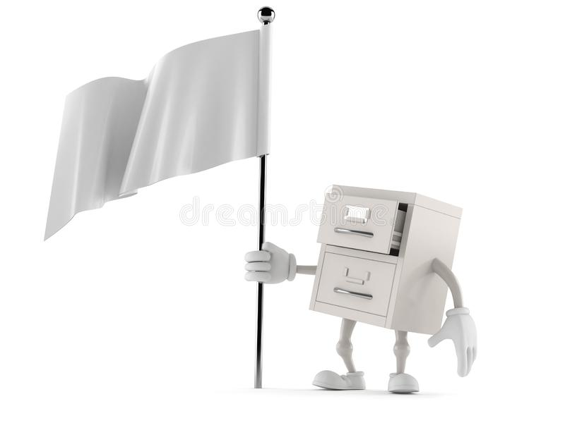 Archives character holding blank flag. Isolated on white background. 3d illustration vector illustration