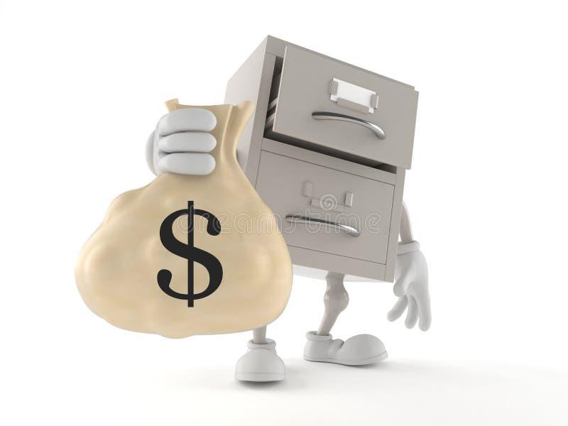 Archives character holding money bag. Isolated on white background. 3d illustration stock illustration