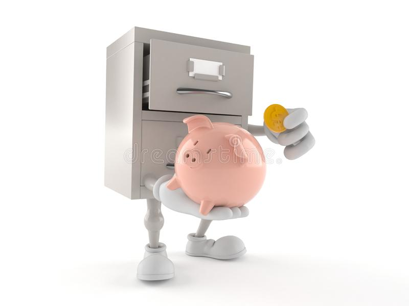 Archives character holding piggy bank with coin. Isolated on white background. 3d illustration royalty free illustration