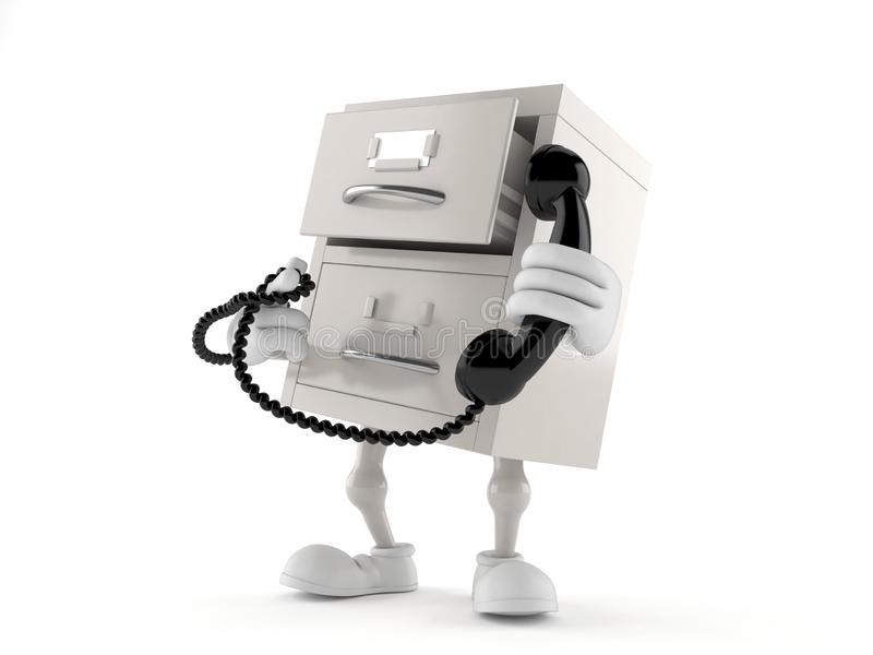Archives character holding a telephone handset. Isolated on white background. 3d illustration royalty free illustration