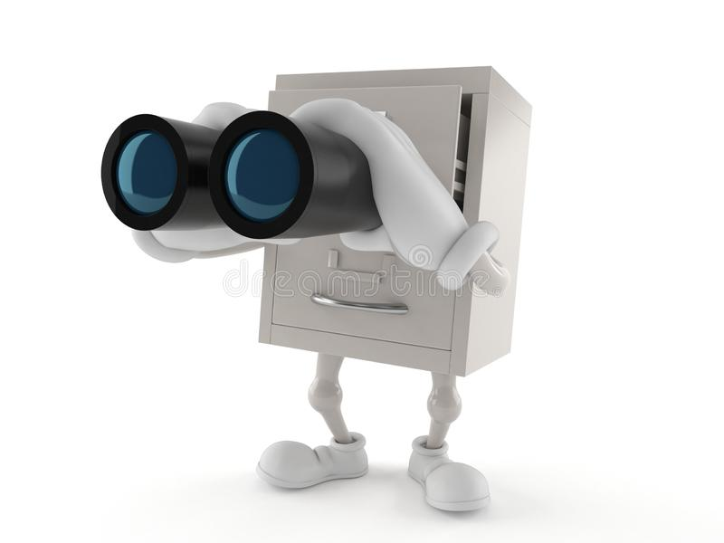 Archives character looking through binoculars. Isolated on white background. 3d illustration royalty free illustration