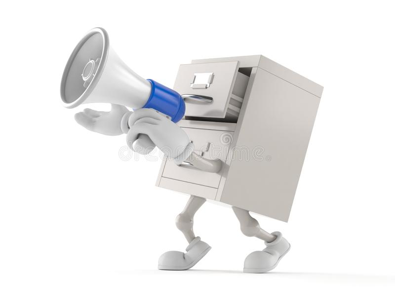 Archives character speaking through a megaphone. Isolated on white background. 3d illustration stock illustration
