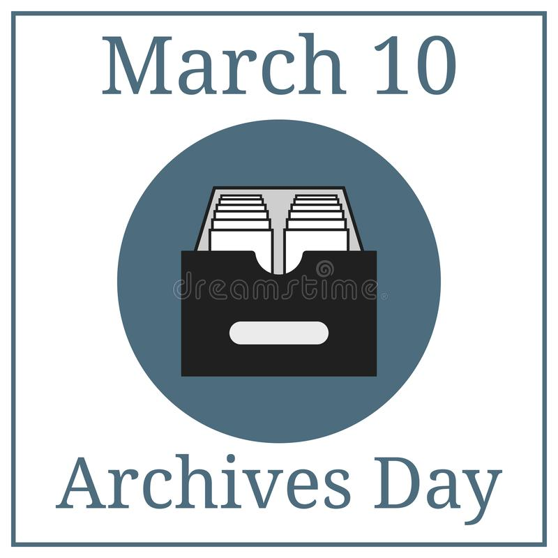Archives Day. March 10. March Holiday Calendar. Archive icon. Vector illustration for your design. Archives Day. March 10. March Holiday Calendar. Archive icon vector illustration