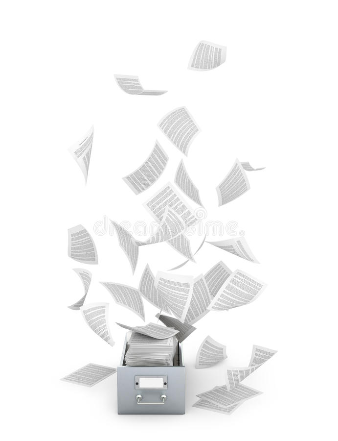 Archives and documents. Flying paper documents a metal box. 3D illustration vector illustration