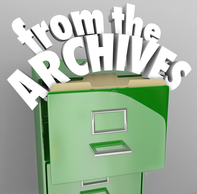 From the Archives File Cabinet Retrieve Historical Records. A green file cabinet with the words From the Archives pulling out of an open drawer vector illustration