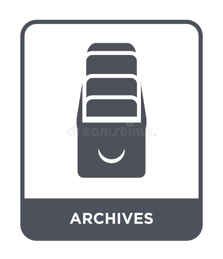 Archives icon in trendy design style. archives icon isolated on white background. archives vector icon simple and modern flat. Symbol for web site, mobile, logo stock illustration