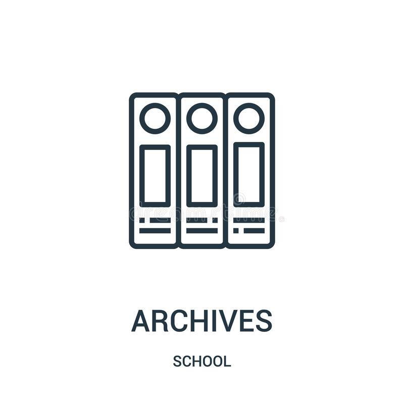 Archives icon vector from school collection. Thin line archives outline icon vector illustration. Linear symbol for use on web and. Mobile apps, logo, print vector illustration