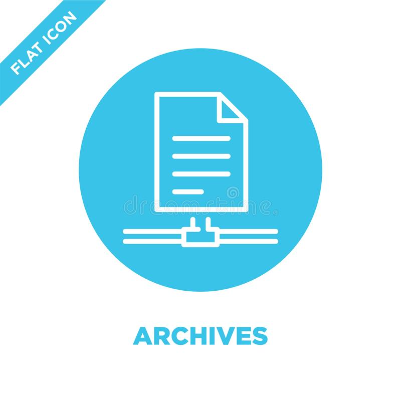 Archives icon vector. Thin line archives outline icon vector illustration.archives symbol for use on web and mobile apps, logo,. Print media royalty free illustration