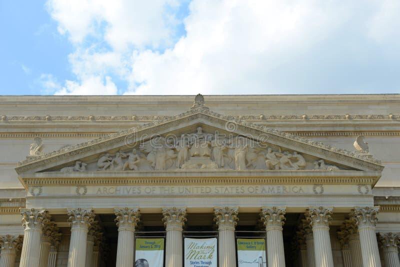 Archives nationales construisant dans le Washington DC, Etats-Unis photos stock
