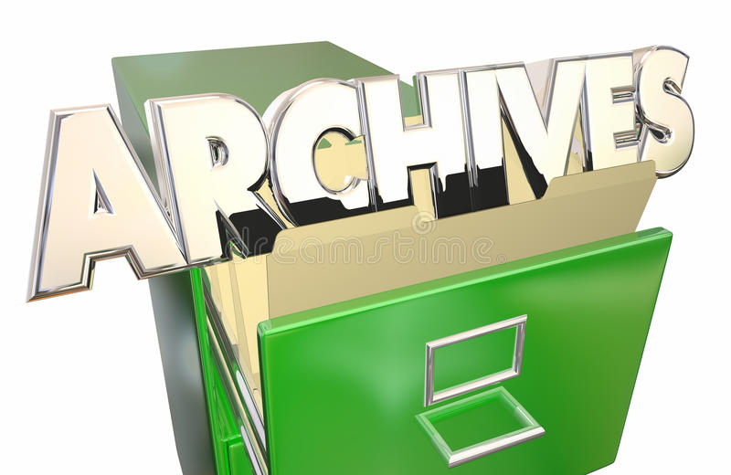 Archives Old Records Data File Folders Cabinet. History vector illustration