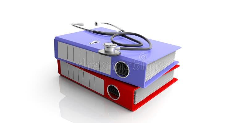 Archivi medici e uno stetoscopio isolato su fondo bianco illustrazione 3D illustrazione di stock