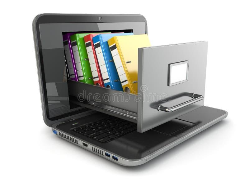 Archiviazione di dati. Computer portatile e gabinetto di archivio con i raccoglitori di anello. royalty illustrazione gratis