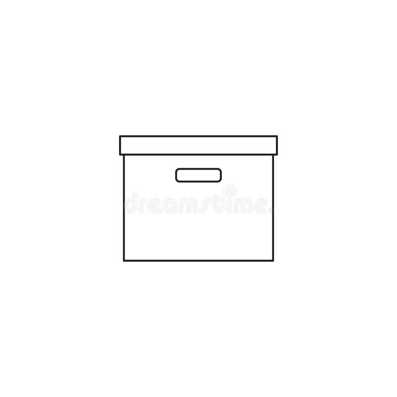 Archivieren Sie Kastenlinie einfache Ikone, Entwurfsvektorzeichen, das lineare Artpiktogramm, das auf Weiß lokalisiert wird Symbo lizenzfreie abbildung